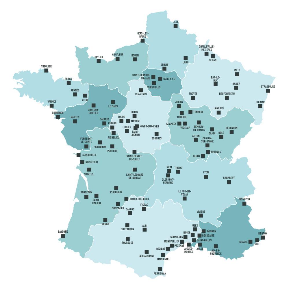 Carte de France avec les villes éligibles à la loi Malraux