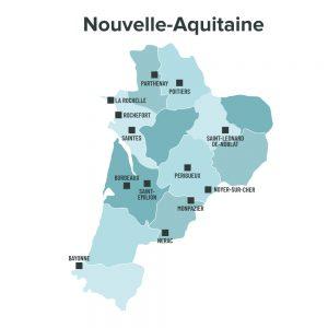 Carte des villes éligibles à la loi Malraux en Nouvelle Aquitaine