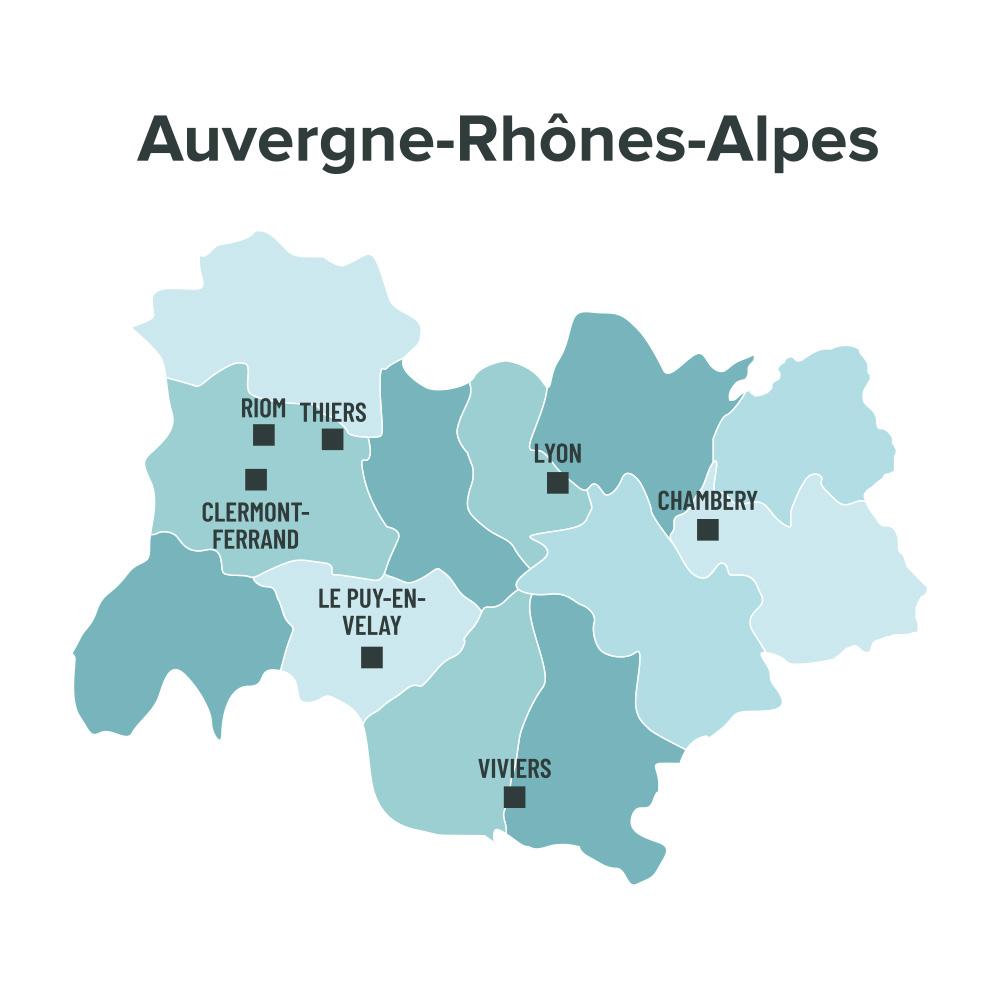 Carte des villes éligibles à la loi Malraux en Auvergne Rhône-Alpes