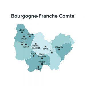 Carte des villes éligibles à la loi Malraux en Bourgogne Franche Comté