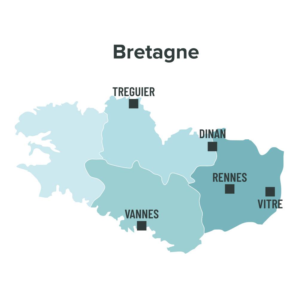Carte des villes éligibles à la loi Malraux en Bretagne