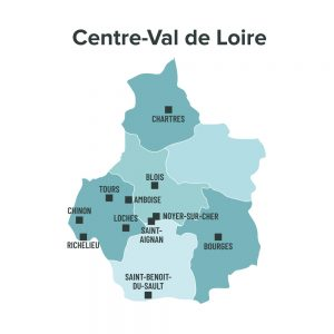 Carte des villes éligibles à la loi Malraux en Centre Val de Loire