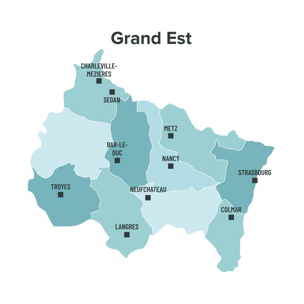 Carte des villes éligibles à la loi Malraux en Grand Est