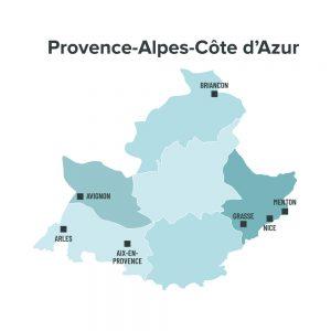 Carte des villes éligibles à la loi Malraux en Provence Alpes Cote d'Azur