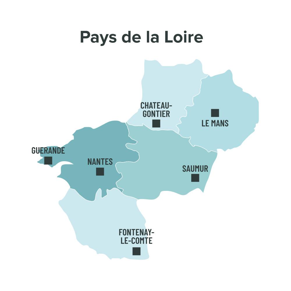 Carte des villes éligibles à la loi Malraux en Pays de la Loire