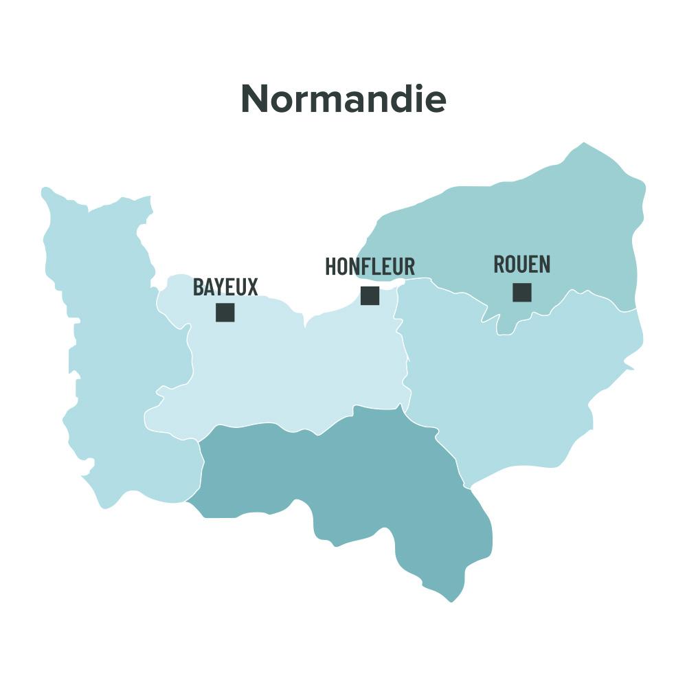 Carte des villes éligibles à la loi Malraux en Normandie