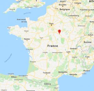 Auxerre sur la carte de France