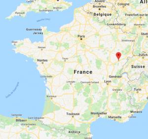 Besancon sur la carte de France