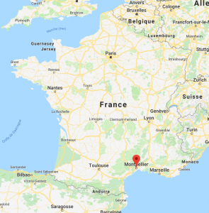 Montpellier sur la carte de France