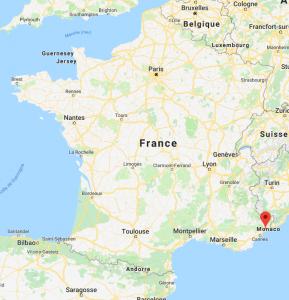 Nice sur la carte de France