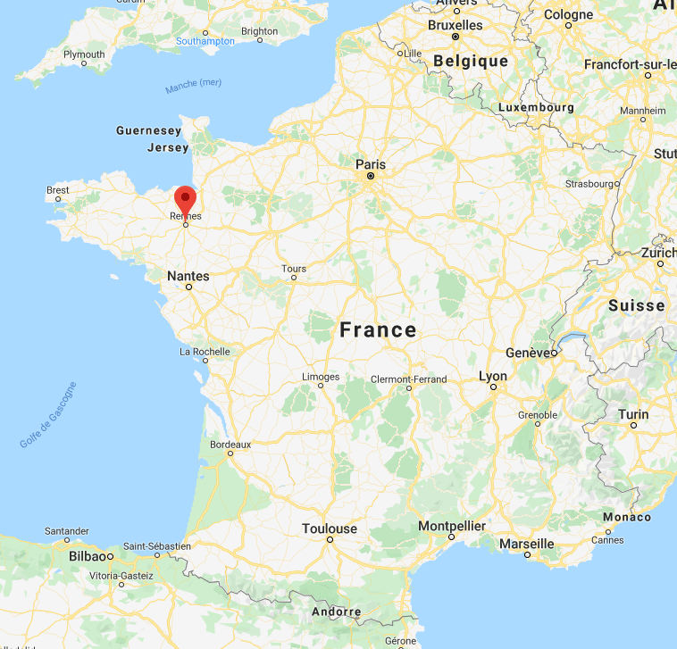 Rennes sur la carte de France