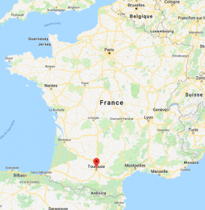 Toulouse sur la carte de France