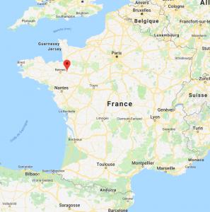 Vitre sur la carte de France