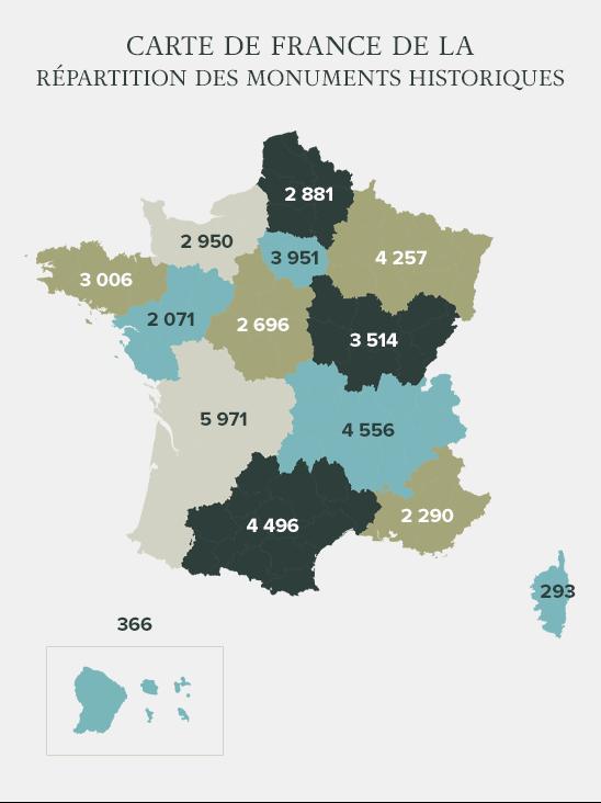 carte de France de la répartition des monuments historiques