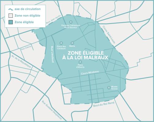 Carte de Aix-en-Provence de la zone éligible Loi Malraux / Monument Historique