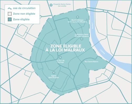 Carte de Auxerre de la zone éligible Loi Malraux / Monument Historique