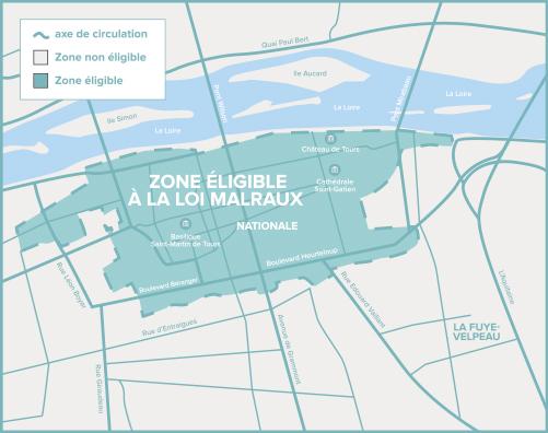 Carte de Tours de la zone éligible Loi Malraux / Monument Historique