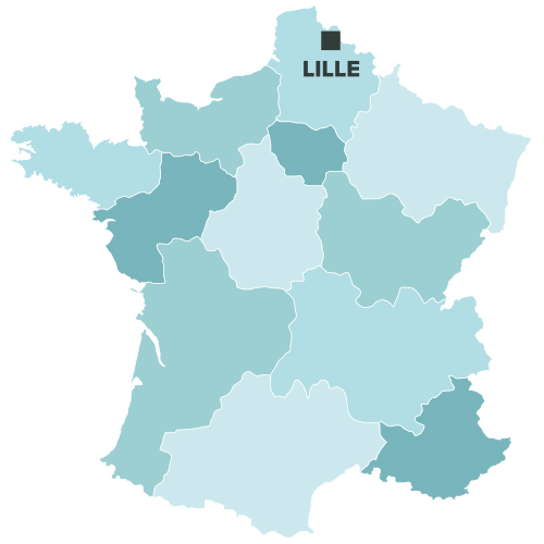 Lille sur la carte de france