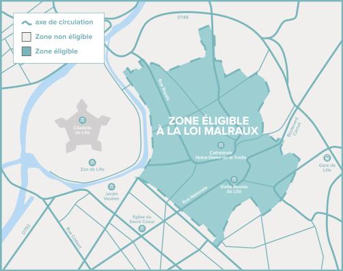 Carte de Lille de la zone éligible Loi Malraux / Monument Historique