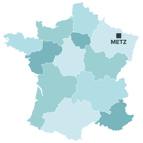 Metz sur la carte de france