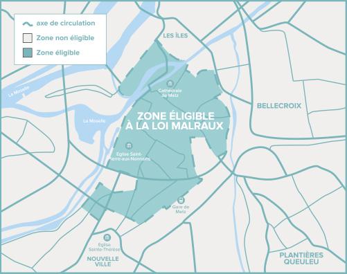 Carte de Metz de la zone éligible Loi Malraux / Monument Historique