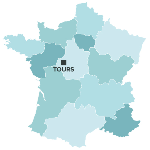 Tours sur la carte de france